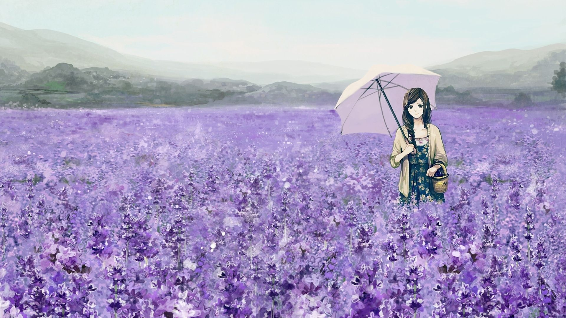 1920x1080 Wallpaper Girl Field Flowers Lavender Umbrella Basket Anime Wallpaper Anime Flower Anime Images