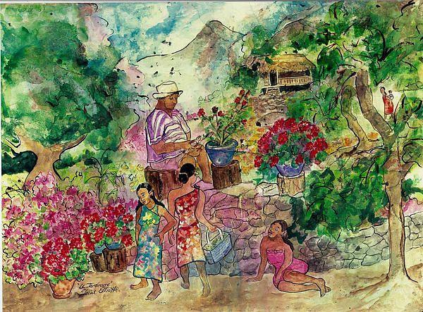 Le Jardiniere By Elaine Elliott Tahiti Moorea Tahiti Art