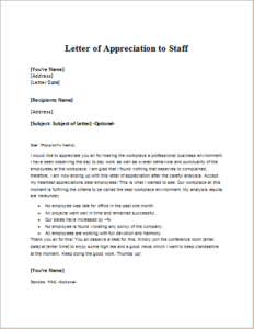 Letter Of Appreciation To Staff Download At HttpWriteletter
