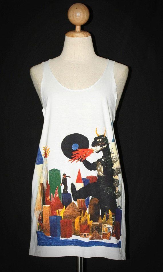 Godzilla Pop Art White Tank Top Mini Dress Sleeveless Indie Punk Rock T-Shirt Size L-XL