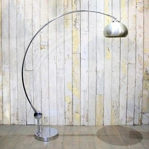An original 1960s chrome floor lamp with a large polished chrome ...