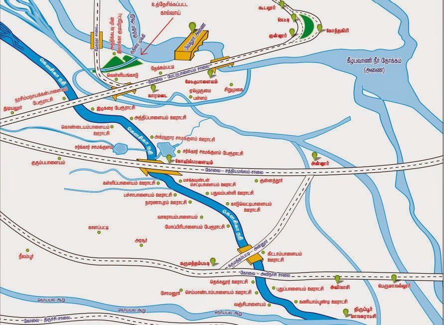 KOUSIKA RIVER MAP COIMBATORETIRUPPUR DISTRICT TAMILNADU