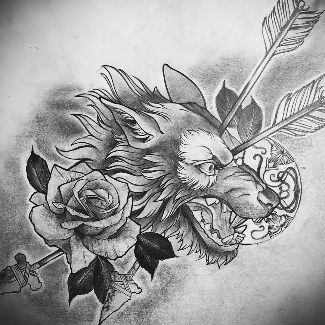 Pencil drawing of classic concept. Would love to turn this bad boy into a painting or tattoo.  #tattoo #blackandreytattoo #wolftattoo #wolfheadtattoo #rosetattoo #flowertattoo #tattoodesign #tattoodrawing #dogtattoo #drawing #pencildrawing #tattoodrawing #blackandgreydrawing #tampatattoo #tattooartist #instatattoo #neotraditionaltattoo #neotraditional