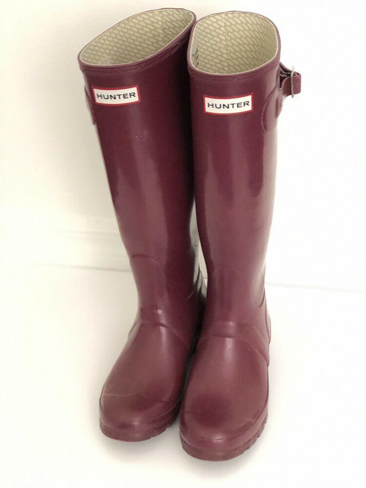 c58900f0251 Hunter Womens Burgundy Matte Rubber Rain BOOTS Original Tall 5 M ...