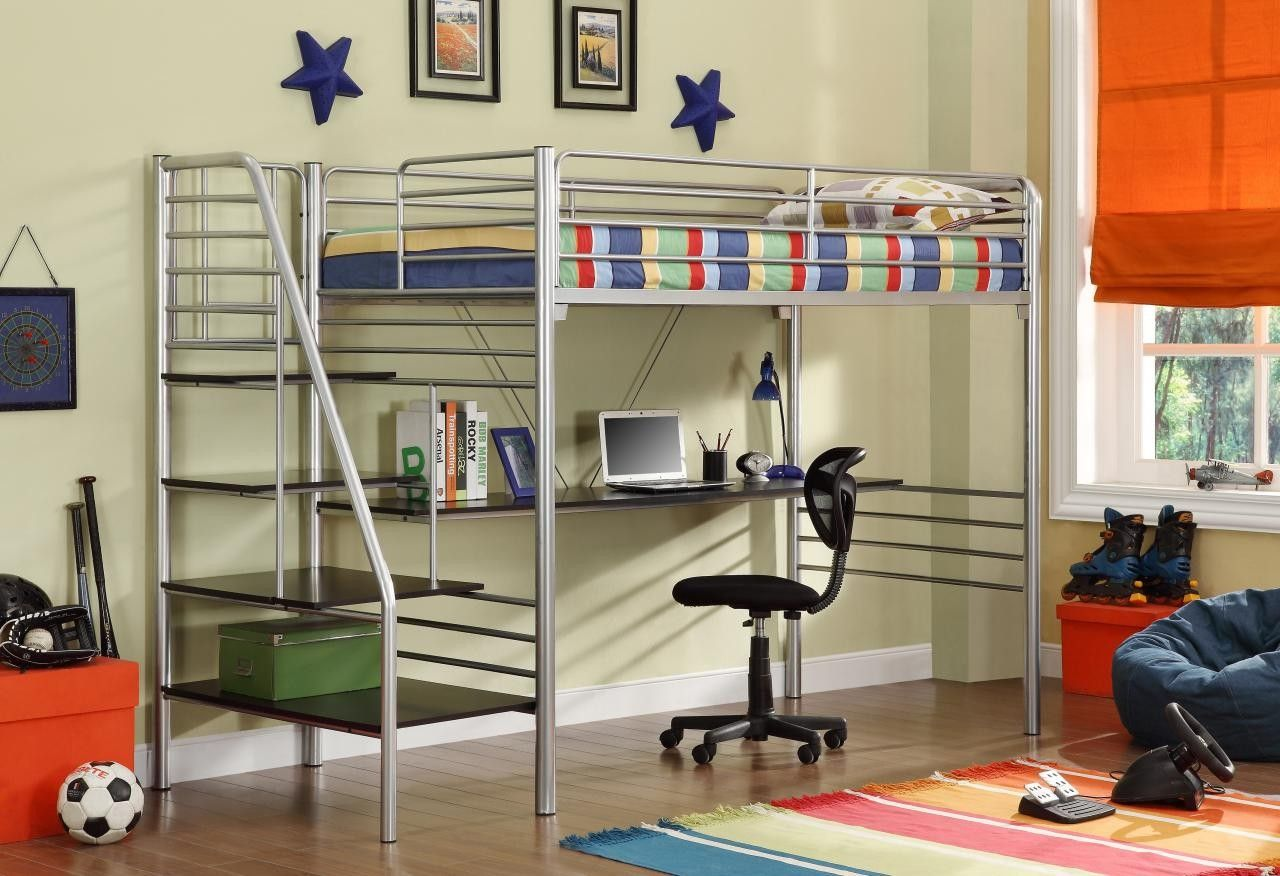 Donco Silver Metal Bunk Beds with Desk and Stairs Loft
