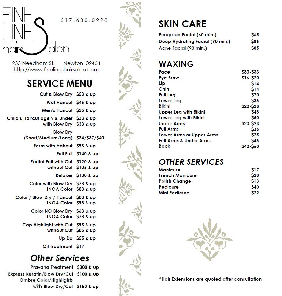 Service Menu Fine Lines Hair Salon Salon Menu Nail Salon Prices Salon Price List