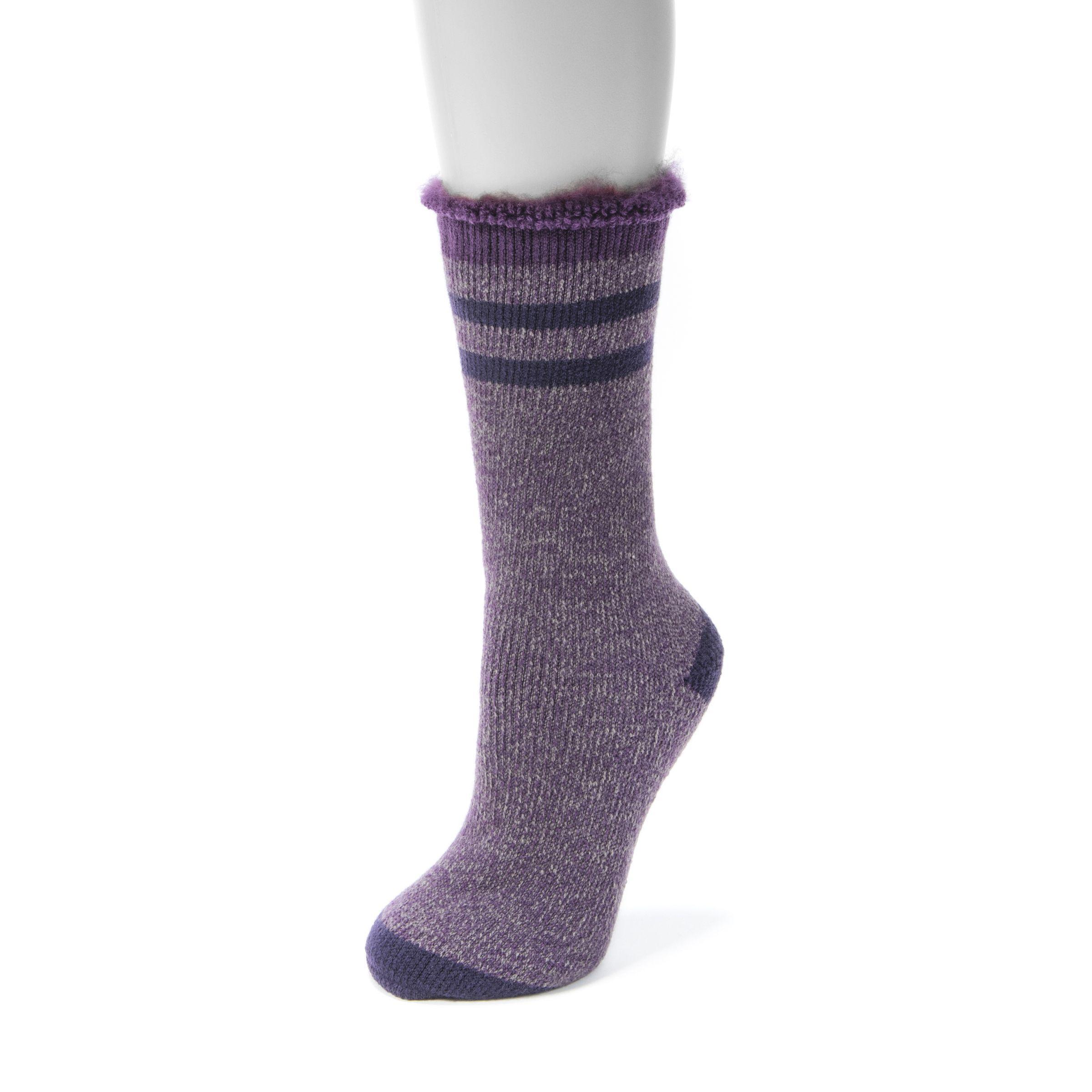 Purple dress socks  MUK Luks Womenus Pair Heat Retainer Thermal Insulated Socks