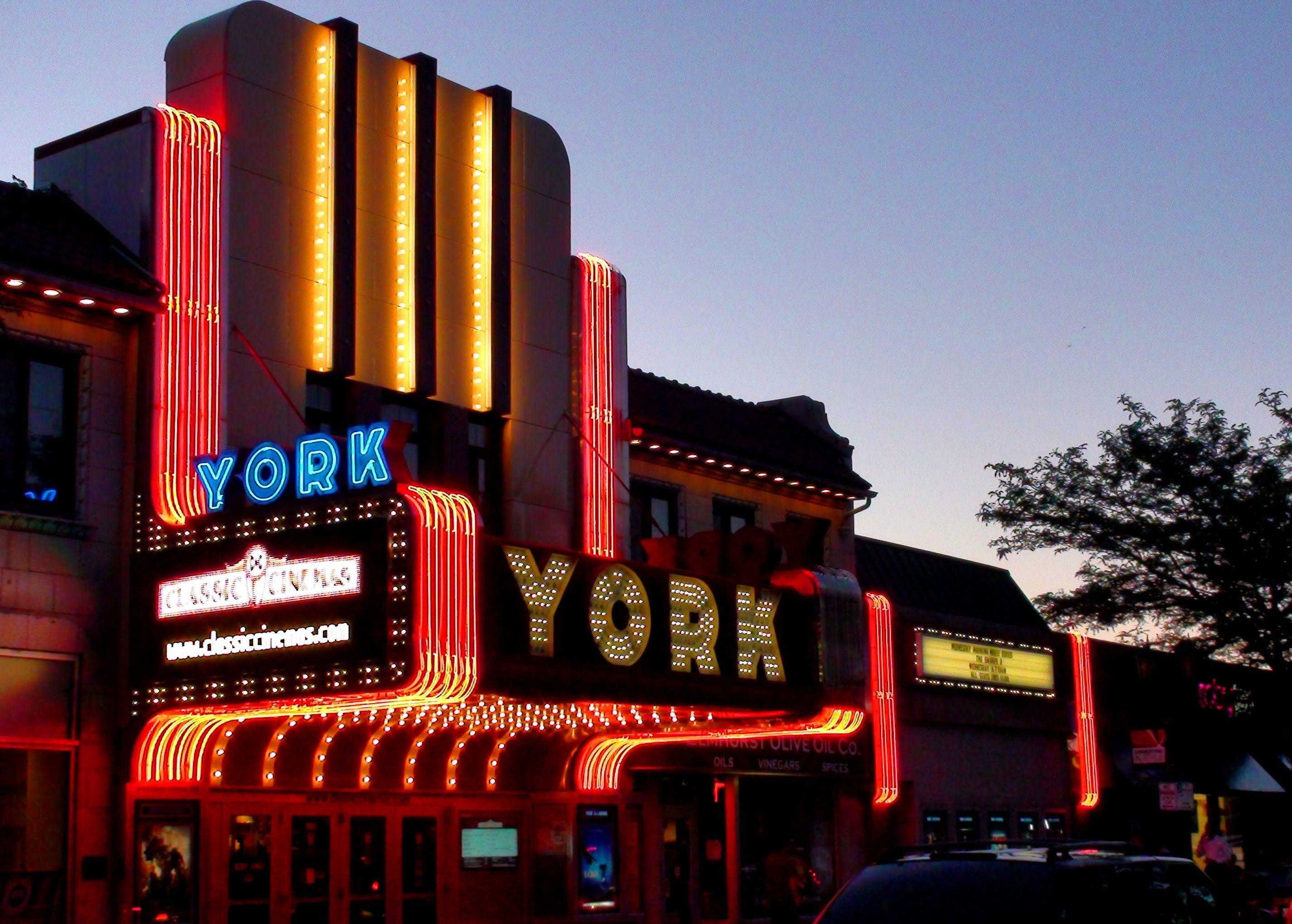 York Theater Marquee, Restored Gem In Elmhurst Il  - YouTube