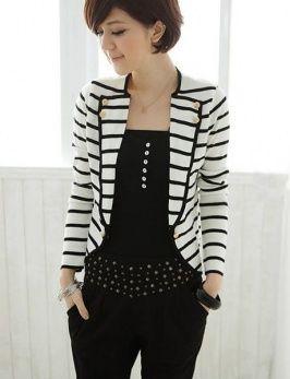 Chaqueta corta con mangas largas de color blanco a rayas estilo elegante  para mujeres 421e599af629