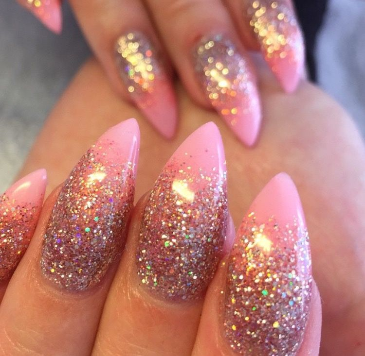 Reverse french tip mani glitter on light pink with pointed nails ...