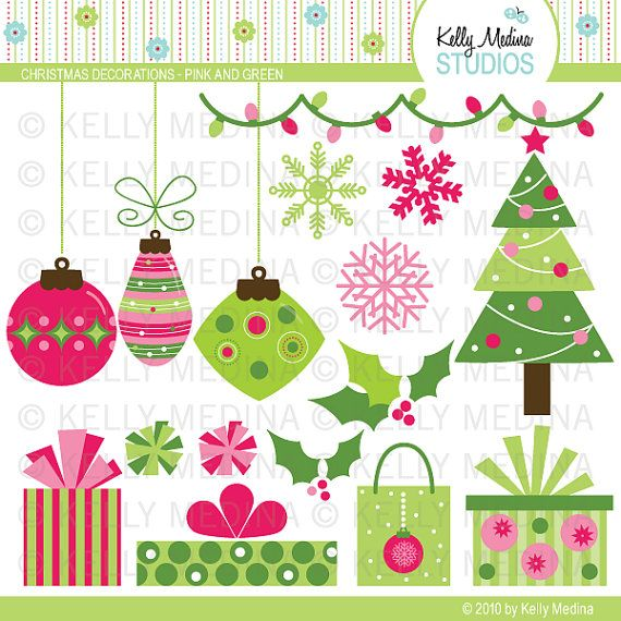 Christmas Decorations Pink And Green Clip Art Set Digital Elements Commercial Use For Cards Stationery And Pape Christmas Art Christmas Decorations Crafts