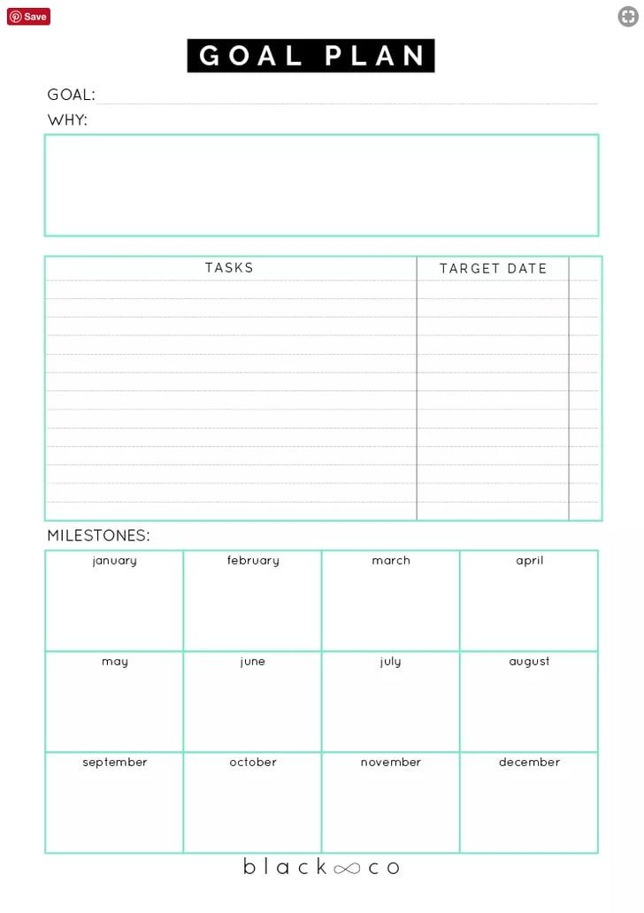 Printable Goal Plan Sheet