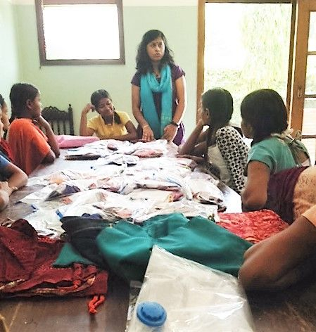 30 Hygiene kits with reusable pads were sent to day school for street kids in Gurgaon India named Harmony House. This is an instructional class for hygiene, menstruation, and care of the pads