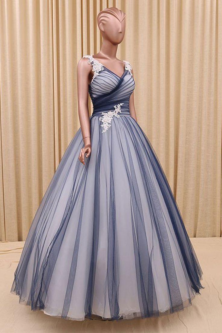 New navy blue tulle prom dress ball gowns wedding dress evening