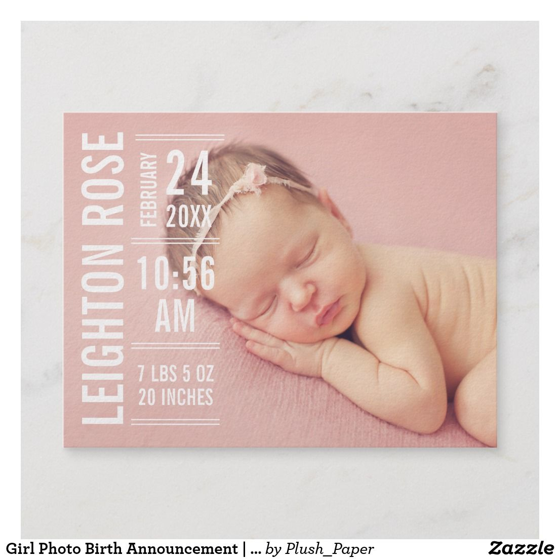 Modern Type Baby Girl Photo White Text Birth Announcement Postcard Zazzle Com Birth Announcement Photos Birth Announcement Girl Birth Announcement Boy