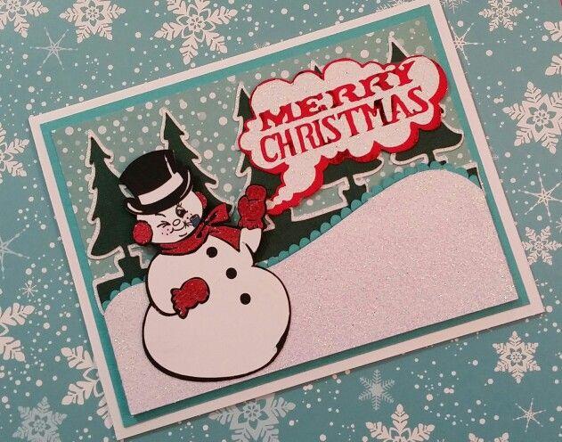 2015 Christmas Card #15 Merry Christmas Snowman Scene