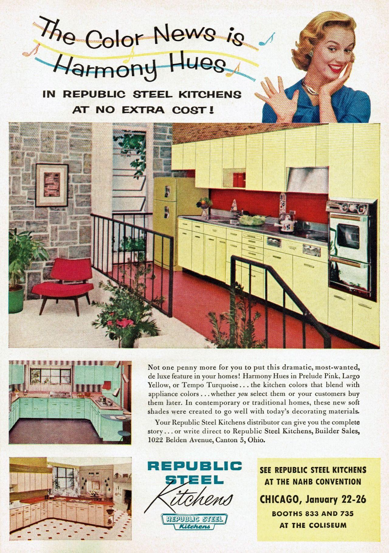 Republic Steel Kitchens Ad 1956 Love The Top Kitchen With The Split Level Retro Decor Vintage Appliances Vintage House