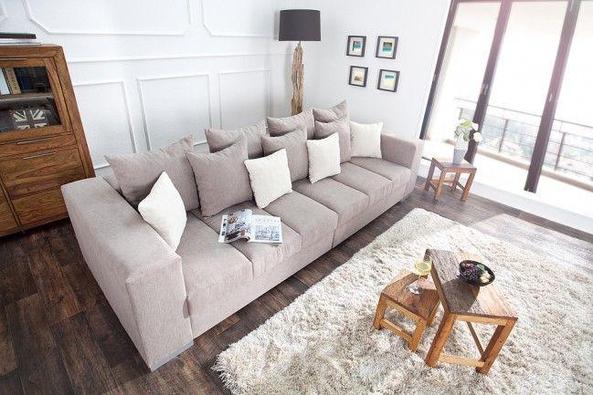 Design XXL Sofa BIG SOFA ISLAND Soft Baumwolle greige inkl Kissen - big sofa oder wohnlandschaft