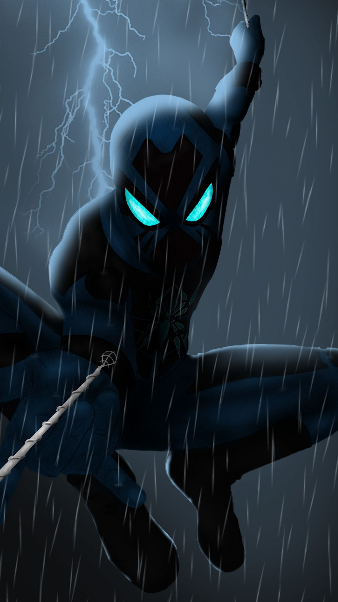 Spider Man 2099 Rain Artwork Dark 1080x1920 Wallpaper Marvel