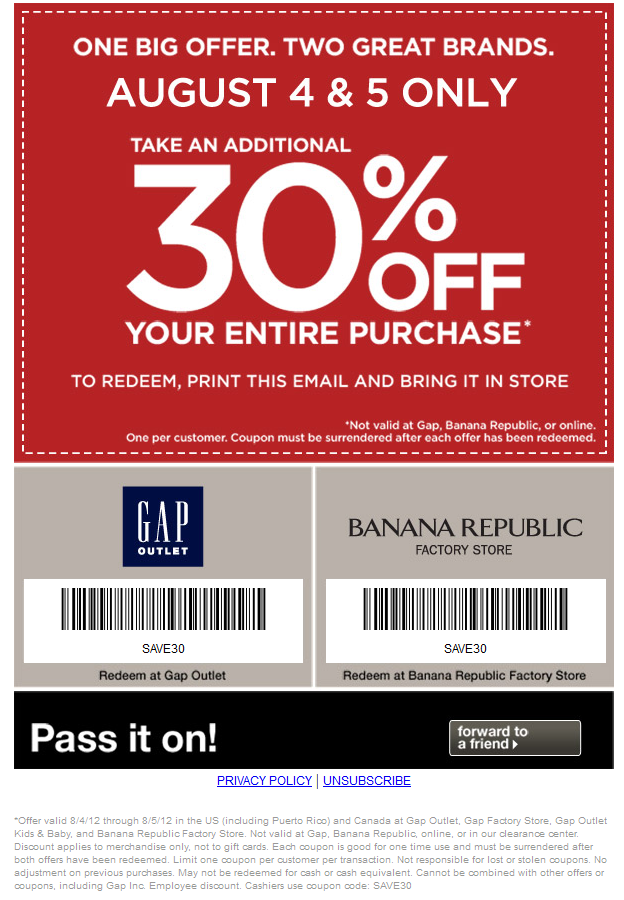 Extra 30% off at Gap Outlet locations coupon via The Coupons App ...