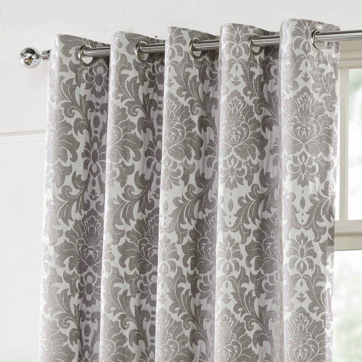 Camden Damask Woven Chenille Lined Eyelet Curtains Silver Casas