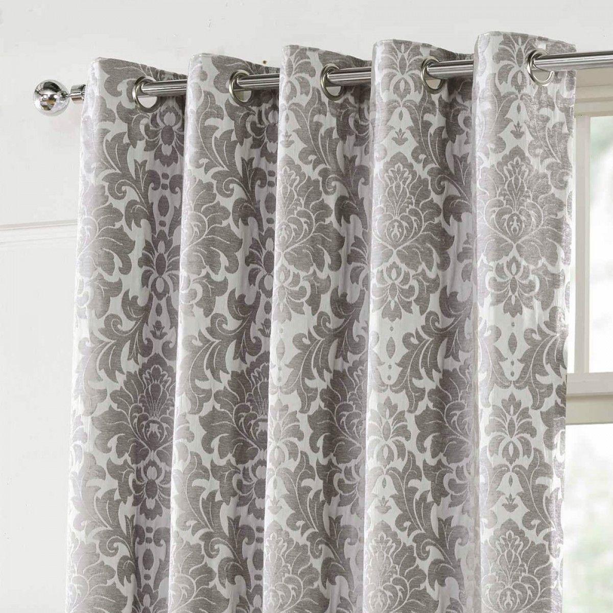 Camden Damask Woven Chenille Lined Eyelet Curtains Silver Curtains Damask Damask Curtains