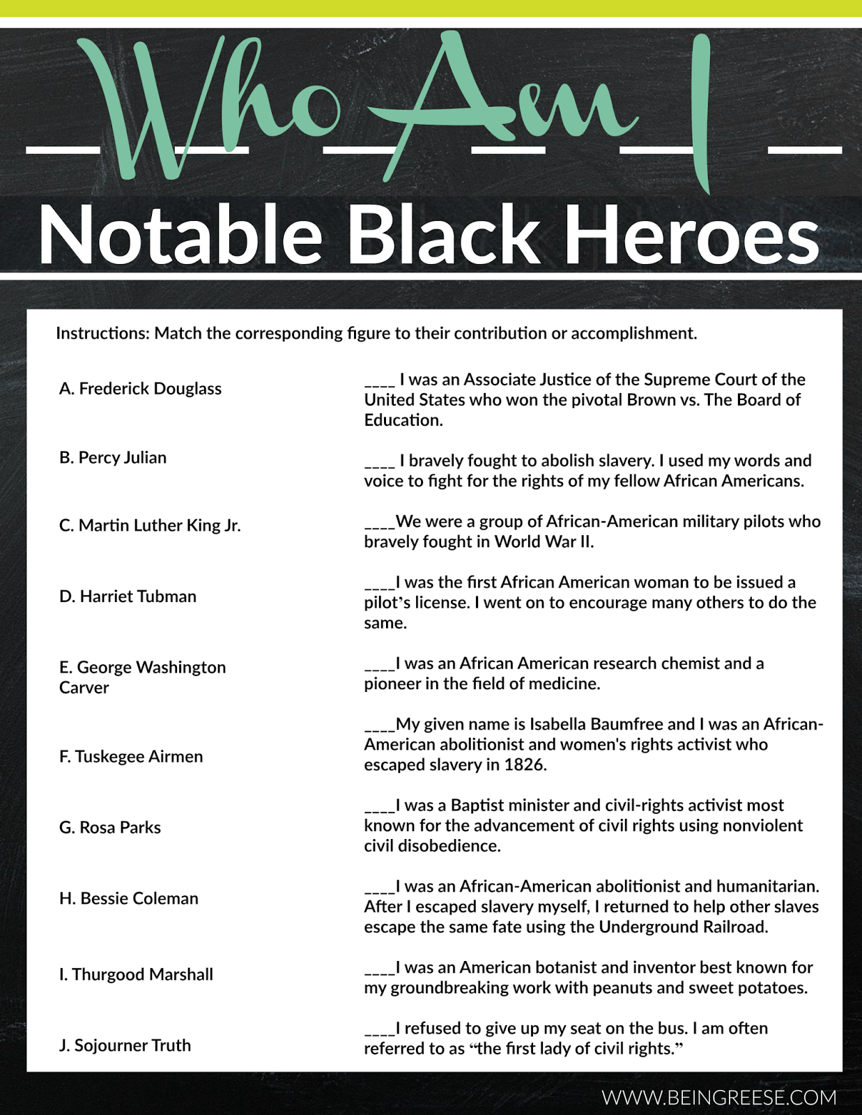 Free Black History Month Worksheet + A Reading List | Black ...