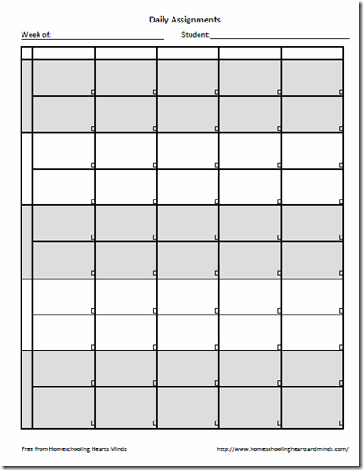 Free Weekly Assignment Sheet Printable  Assignment Sheet And