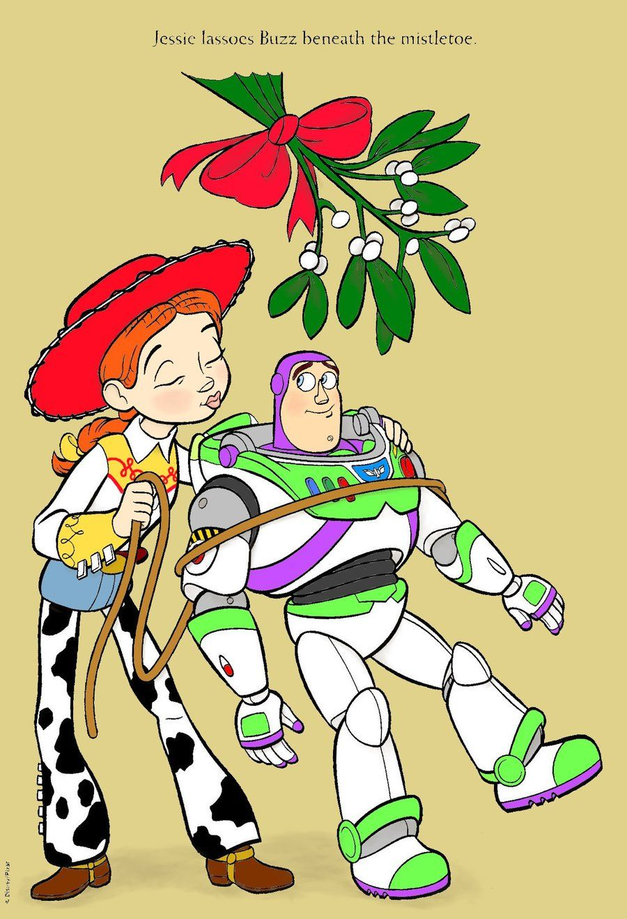 Buzz Lightyear and Jessie under the mistletoe from Toy Story  0e4bd0ccd30