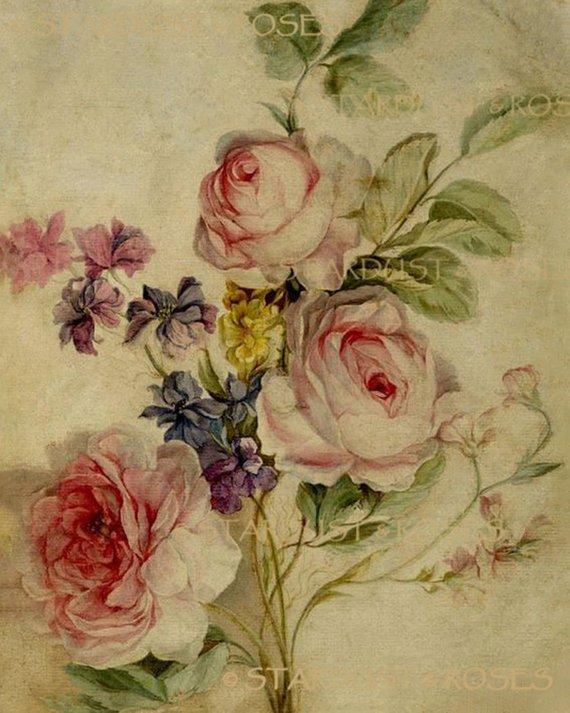 Antique Floral Art Download Instant Digital Vintage Painting Etsy In 2020 Botanical Drawings Flower Art Botanical Prints