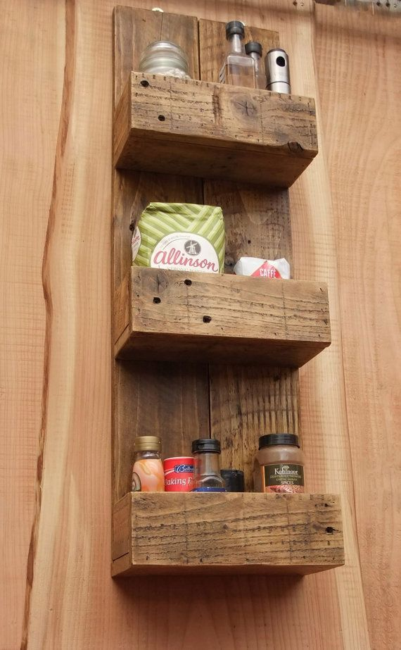 Decorative Rustic Storage Projects For Your Bathroom: Tall Rustic Kitchen / Bathroom Storage Shelves Made From Reclaimed Wood