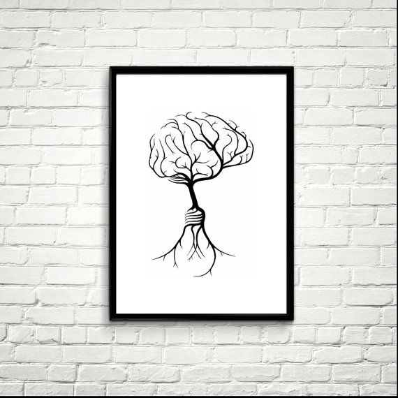 Tree Rooting from a Human Brain, Printable Art, Modern Art ...