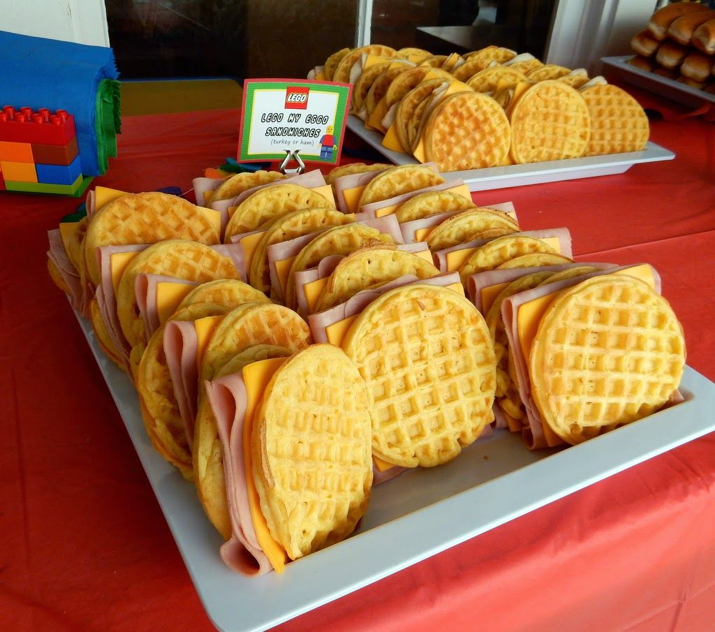 Party Food Spread For Kids: Lego Party Food: Lego My Eggo Sandwiches