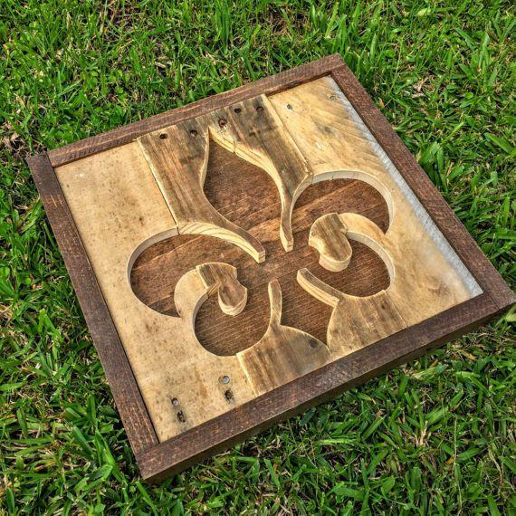 Handmade Reclaimed Rustic Pallet Wood Fleur De Lis Wood Wood