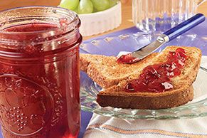 Discover SURE.JELL Plum Jam, a deliciously sweet fruit spread. Cook fresh plums, sugar and fruit pectin for a scrumptious homemade  jam that everyone will love!