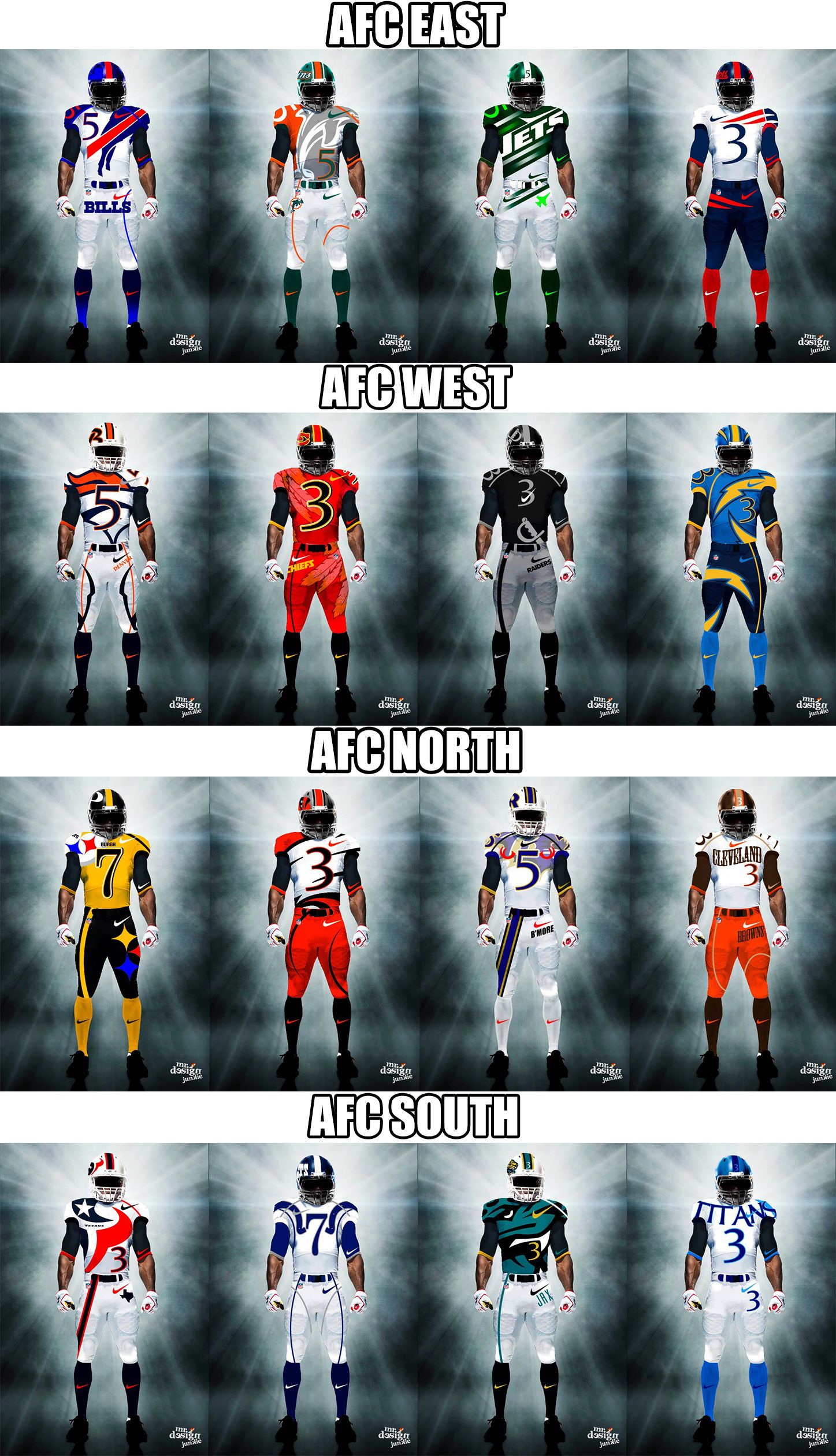 epic redesign of nfl u0027s afc divisions sports pinterest