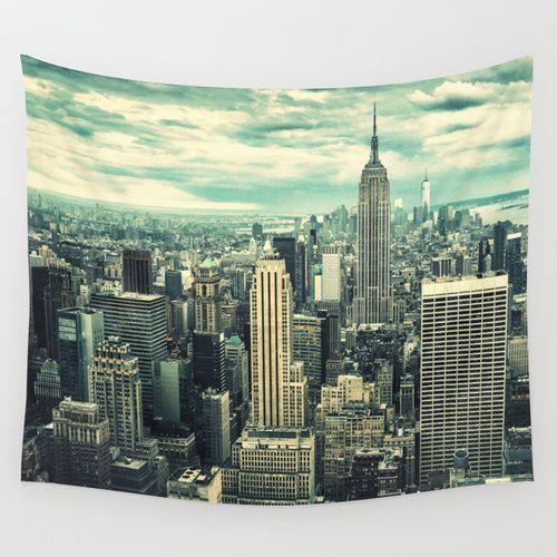 New York City Panoramic View Skyline Wall Tapestry Panoramic Views Tapestry Skyline