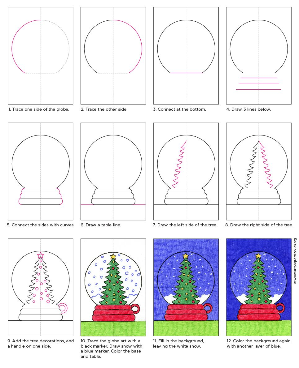 How to Draw a Snow Globe Globe art, Globe drawing, Snow