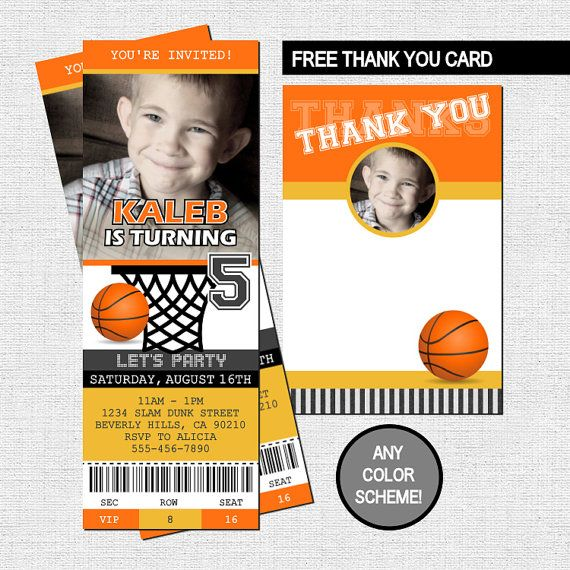 BASKETBALL TICKET INVITATIONS Birthday Party + Thank You Card ...