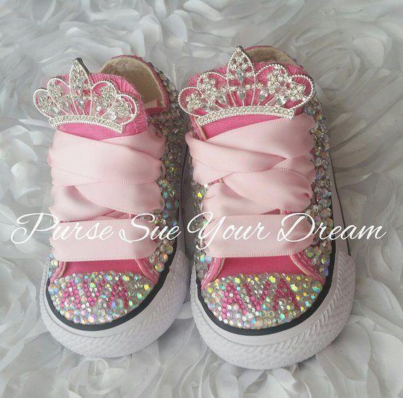 Swarovski Crystal Design Princess Custom Converse Shoes - Bling Shoes -  Princess Converse Shoes - C 4e70b40b00