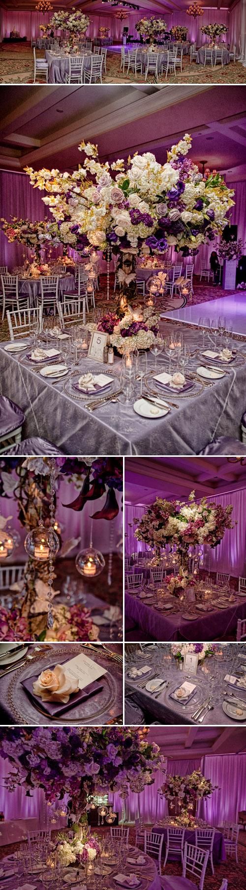 Purple wedding floral design by Nisie's Enchanted Florist, Montage Laguna Beach wedding, photos by Jason Lanier