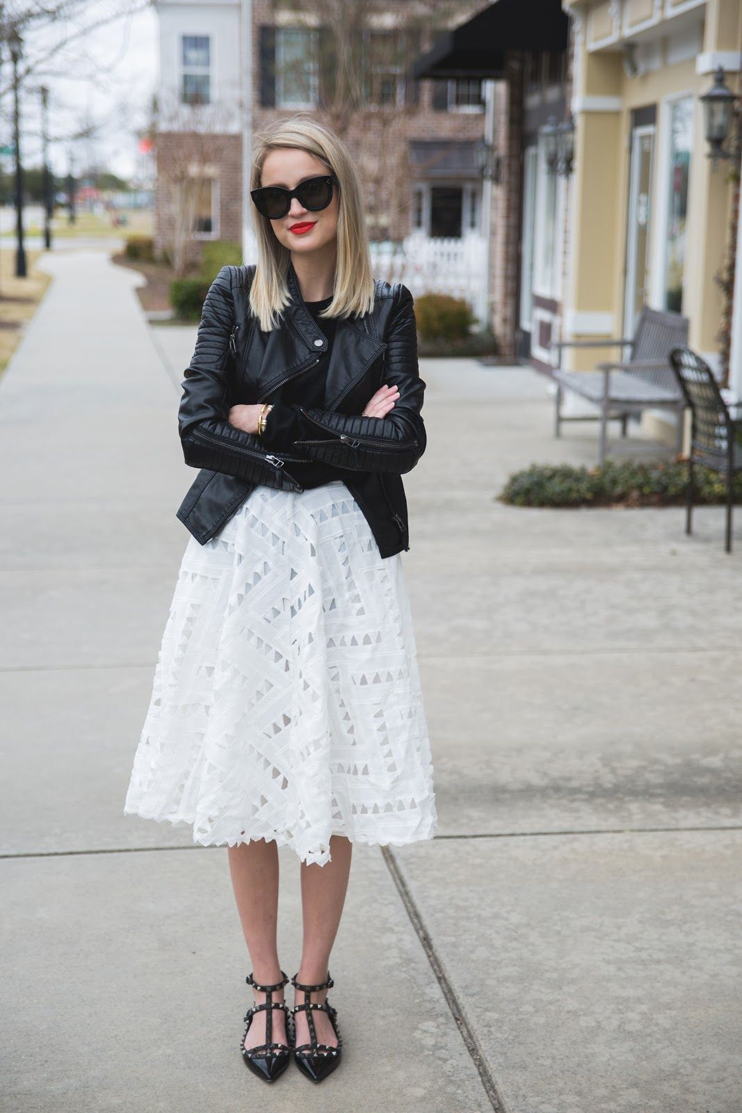 Lace midi skirt paired with black & leather