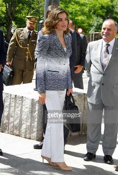 Queen Letizia of Spain arrives to attend the course 'Hambre Cero:Es Posible' on June 28, 2016 in Madrid, Spain.