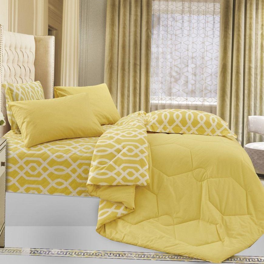 مفرش لوسيا صيفي مفرد ونص أصفر عدد القطع 4 Summer Bedding Bed Sheets
