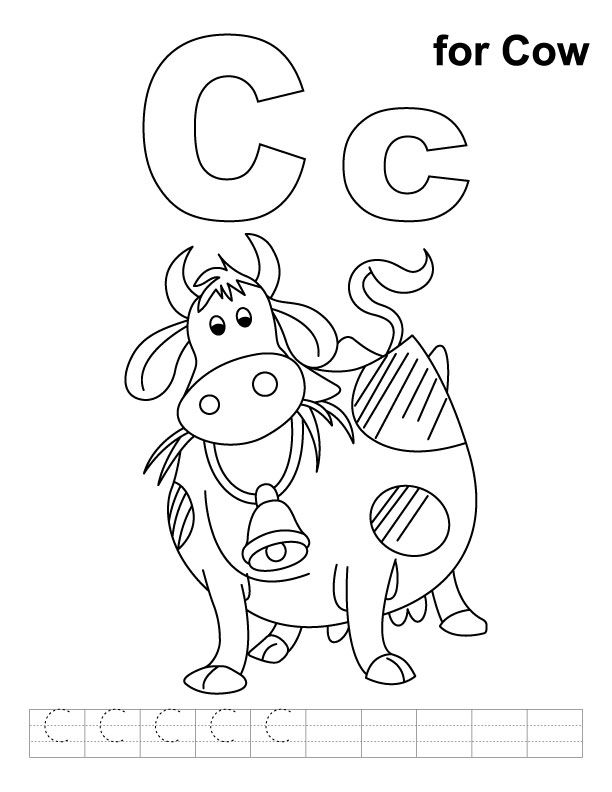 C For Cow Coloring Page With Handwriting Practice Cow Coloring
