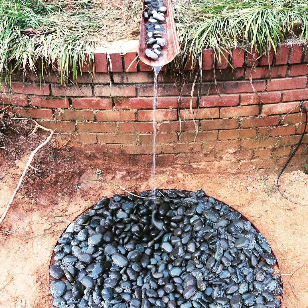 Ephemeral Rain Art Cascading Rainwater Fed Fountain Overflow Copper River Pebble Slate Permacultureatlanta With Images Shades Of Green Permaculture River Pebbles