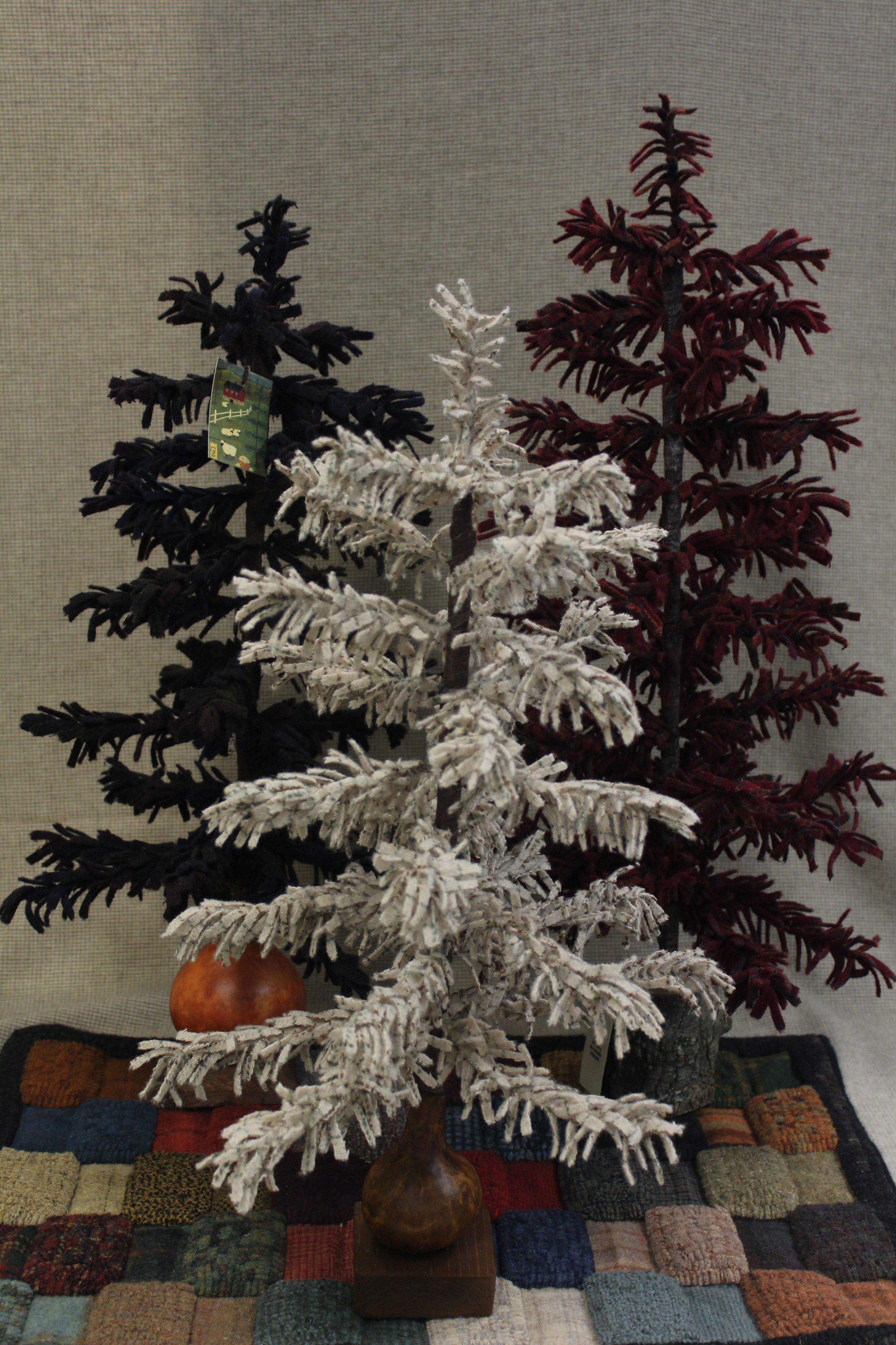 Wooly Pine Trees Made With Textured Wool Fabric Felt Christmas Tree Diy Christmas Tree Feather Tree