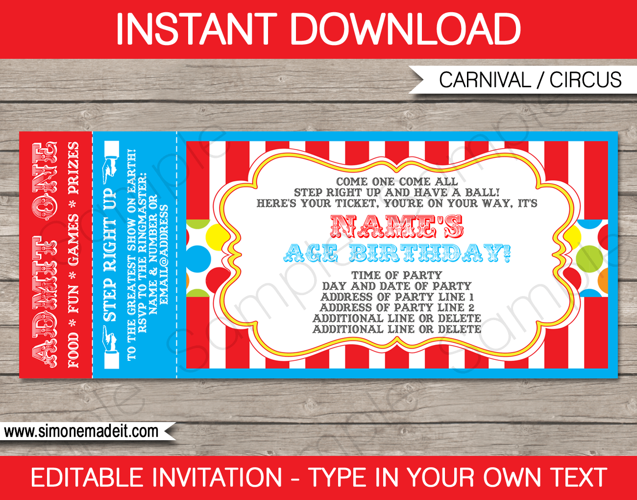 Carnival Ticket Invitation template – colorful 1 | Carnival ...