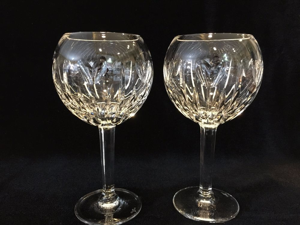john rocha waterford crystal red wine glasses vintage glass patterns pair millennium series hearts balloon tall lismore