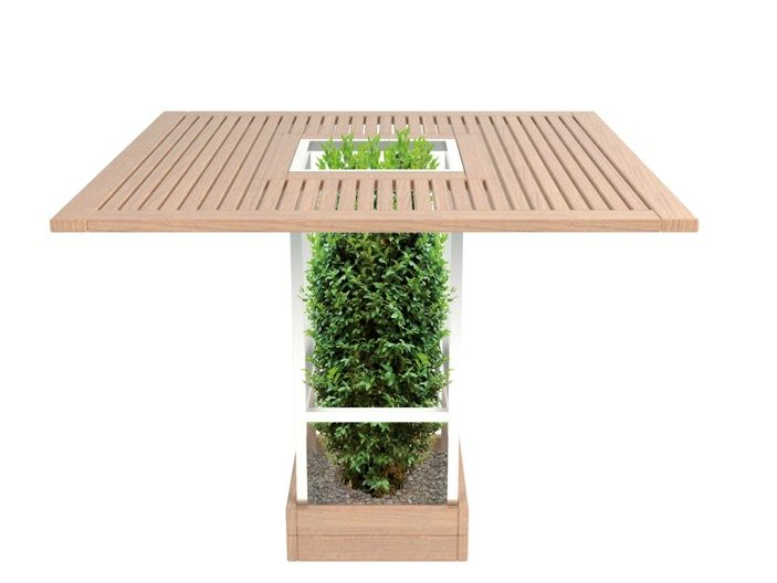 #outdoor #table whose structure serves as a pot and support for plants or bushes, which can be shaped, keeps nature close at hand!
